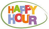 colorful text HAPPY HOUR on white background