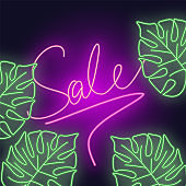Sale banner with tropical leaves on night sky. Neon bright illustration with flashlight on dark background.