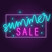 Original concept poster discount sale. Vector illustration in neon style suitable for website design and advertising