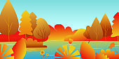 Autumn landscape with a lake and leaves. Vector illustration