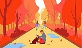 Family in autumn, Vector illustration of a happy family in the autumn on a walk around the park. Child and dog stroll through the park