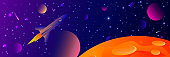 Vector futuristic space background with bright light planets and stars. Cosmos banner with neon light 3d objects and glowing tracks. Abstract universe with big red planets