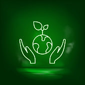 Eco, energy, earth, plants neon vector icon. Save the world, green neon.