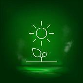 Plants, sun, eco neon vector icon. Save the world, green neon.