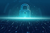 Hexagon Cyber security technology concept , Shield With Keyhole icon , personal data , vector illustration