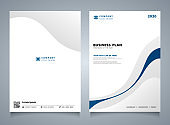 Abstract blue line color modern brochure template. You can use for corporate layout, cover design background, annual reports.