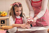 Mother and daughter making pizza