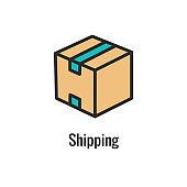 Shipping and Receiving Icon Set with Boxes, Warehouse, checklist, etc