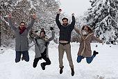 Freinds having fun on snow