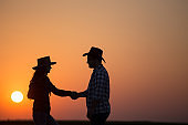 Silhouette of farmers shaking hands in field at sunset