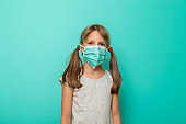 Child wearing syrgical mask as flu protection