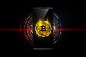 Golden bitcoin digital currency on smartphone, futuristic digital money, technology worldwide network concept, vector illustration