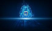 Artificial intelligence  brain , data mining, deep learning modern computer technologies concepts. Brain representing artificial intelligence with printed circuit board design. vector illustration