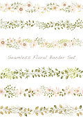 Seamless watercolor floral border set, vector illustration.