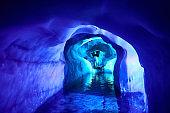Inside of a glacier