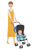 Mother with baby in a stroller, isolated on white background.