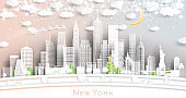 New York USA City Skyline in Paper Cut Style with Snowflakes, Moon and Neon Garland.