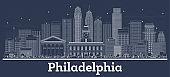 Outline Philadelphia Pennsylvania City Skyline with White Buildings.