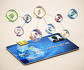 Generic icons symbolyzing smart chip usage areas on credit card with smart chip