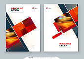 Red Brochure cover template layout design. Corporate business annual report, catalog, magazine, flyer mockup. Creative modern bright concept with square shapes