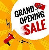Grand opening sale banner.