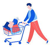 Man walking with purchase buy paper bags trolley. Summer sale discount black friday start .