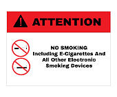 Attention Message Board, message No SMOKING including e-cigarettes and all other electronic smoking devices, Not Allowed Sign, road symbol sign and traffic symbol design concept, vector illustration.