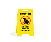 Yellow caution plastic plate with message NO DOGS BEYOND THIS POINT. Animal Prevention signs, beware and careful Sign, warning symbol, vector illustration.