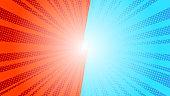 Comic blue sun rays background pop art retro vector illustration kitsch drawing. Comic background VS