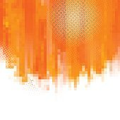 Orange abstract paint splashes illustration. Vector background with place for your text. Mosaic pixel