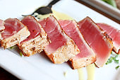 sashimi ahi tuna seared with herbs and spices