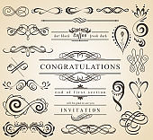 Set of Vintage Decorations Elements.Flourishes Calligraphic Ornaments and Frames with place for your text. Retro Style Design Collection for Invitations, Banners, Posters, Badges, Logotypes