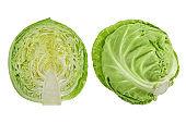White cabbage isolated on white background close-up