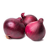 Red onion closeup isolated on white background