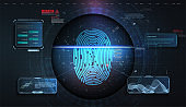 Cyber security concept. Fingerprint scanning on futuristic background.