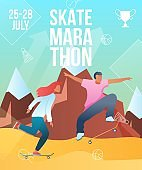 Modern cartoon flat characters,summer sport activity,landing page,skate marathon poster banner flyer,web online concept, healthy lifestyle design.Flat cartoon family people boy girl riding on skates