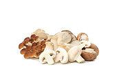 Group of different mushrooms isolated on white background