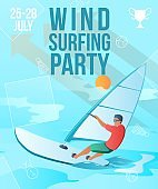 Gradient cartoon flat character doing summer sport activity,landing page,party banner flyer poster,web online concept,healthy lifestyle design.Flat cartoon man windsurfing,sporting,sea surfing on wave