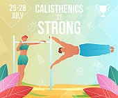 Gradient cartoon flat characters,summer sport activity,landing page,sports banner flyer poster,web online concept,healthy lifestyle design.Flat cartoon family people training calisthenics on beach