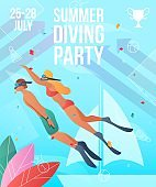 Gradient cartoon flat characters doing summer sport activity,landing page,party banner flyer poster,web online concept,healthy lifestyle design.Flat cartoon family people swimming,sporting underwater