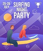 Gradient cartoon flat characters summer sport activity,landing page,night party banner flyer poster,web online concept of healthy lifestyle design.Flat cartoon family people surfing,sporting in water