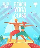 Gradient cartoon flat characters summer sport activity,landing page,yoga class banner flyer poster,web online concept,healthy lifestyle design.Flat cartoon family people doing yoga on beach,training