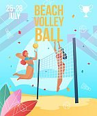 Gradient cartoon flat characters doing summer sport activity,landing page,party banner flyer poster,web online concept,healthy lifestyle design.Flat cartoon people girls playing beach volleyball