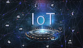 Internet of things (IoT) and networking concept for connected devices. Global world telecommunication network connected around planet Earth. Wireless connections of information technology. Vector