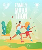 Gradient cartoon flat characters doing summer sport activity,landing page,marathon banner flyer poster,web online concept,healthy lifestyle design.Flat cartoon family people running,sporting,training