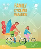 Gradient cartoon flat characters doing summer sport activity,landing page,marathon poster,banner flyer,web online concept,healthy lifestyle design.Flat cartoon family people boy girl riding on bikes