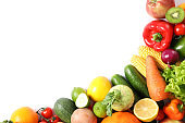 Composition with ripe vegetables and fruits isolated. Top view