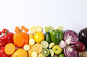 Different vegetables and fruits on white background, copy space