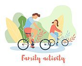Modern cartoon flat characters doing summer sport activity,landing page,sales poster,banner flyer,web online concept of healthy lifestyle design.Flat cartoon family people boy girl riding on bikes