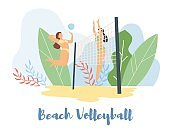 Modern cartoon flat characters doing summer sport activity,landing page,sales banner flyer poster,web online concept of healthy lifestyle design.Flat cartoon people girls playing beach volleyball